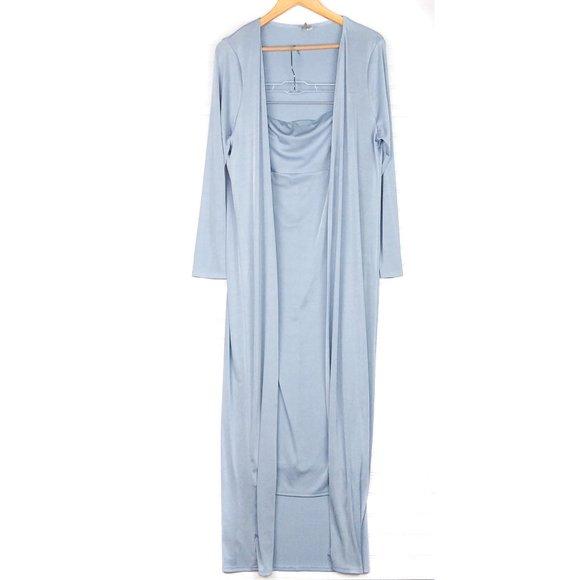 Asos Light Blue Stretch Tube Dress & Duster Set